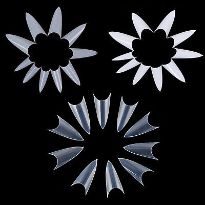 500Pcs Stiletto Pointy ABS Natural Clear White Fake False Nail Art Tip Tool