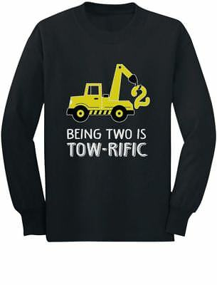 2nd Birthday Tractor Construction Party Toddler Kids Long Sleeve T Shirt 2 Years