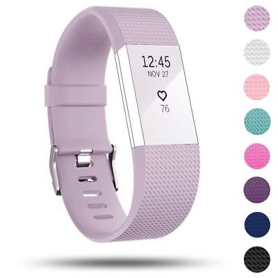 Watch Strap For Fitbit Charge 2 Replacement Band Bracelet Silicone W Silver Buck