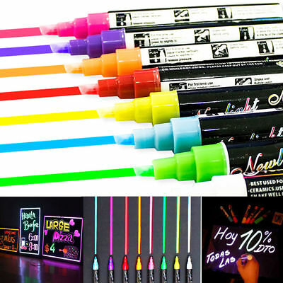 8 Colours 6mm Dual Nib Neon Liquid Chalk Pen Marker Blackboard Glass Window Menu