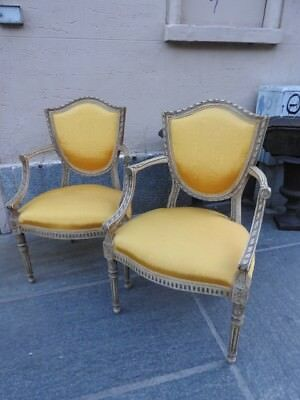 Pair Of Belle Chairs Armchairs Style Louis Xvi Lacquered Golden Xx Century