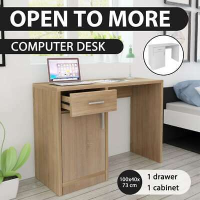 vidaXL Home Study Office Desk Computer Table w/ Cabinet Drawer Oak/White Modern