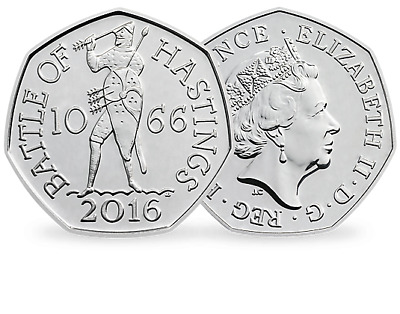 Uncirculated Battle Of Hastings 2016 50P Coin  1066 Rare Fifty Pence