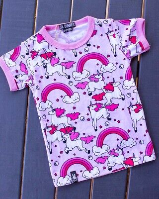 Six Bunnies Rainbows Pink Tee Shirt Kids Top Unicorns Clouds Sweet Fun Girls
