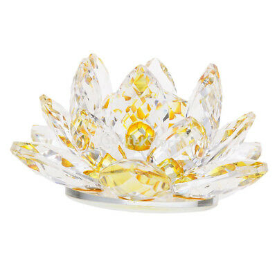 Crystal Lotus Flower Crafts Paperweights Buddhist Feng Shui Ornaments Yellow