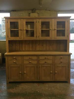 Old Reclaimed Pine Solid Wood Farmhouse Style Glazed Dresser Made Anysize
