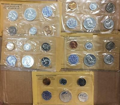 ***5 Set Lot Nice Original U.s. Mint Proof Sets 1960, 1961, 1962, 1963, 1964