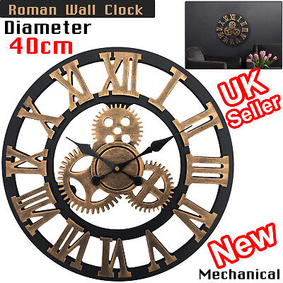 Roman Wall Clock Large Traditional Vintage Numerals Skeleton Style Round 40CM