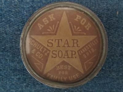 Antique Vintage Advertising Pocket Mirror Star Soap Zanesville, Ohio