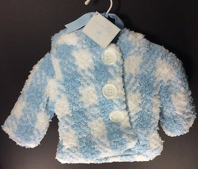 Mud Pie Baby Boy Super Soft Chenille Gingham Checked Jacket Coat 0-6 Months NWT