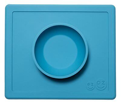 ezpz Happy Bowl One-piece silicone placemat Blue Bowls Plates Cups Dishes Baby