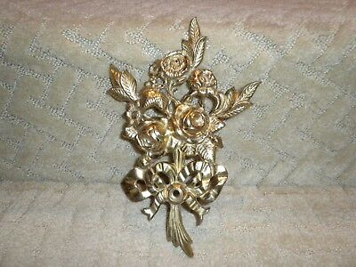 Vintage Victorian Style Solid Brass Floral Bouquet Wall Plaque Sculpture Rose