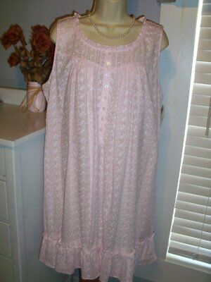 e51a107b91 NWT S Small Eileen West Nightgown 100% Cotton NEW Gown PINK Embroidered  68