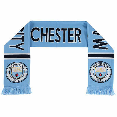 Manchester City Text Scarf Sky/White Unisex
