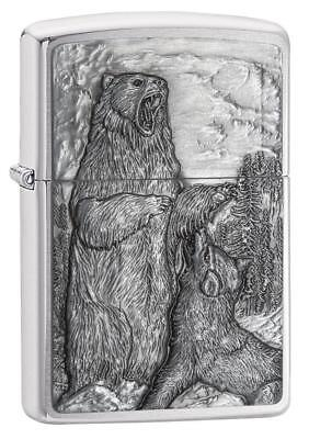 "Zippo ""Bear Versus Wolf"" Emblem Lighter, Brushed Chrome, Full Size, 29636"