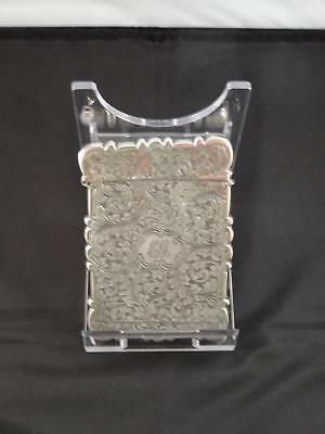 Antique Victorian Silver Card Case, Initialled Monogram, Birmingham, ES, C. 1875
