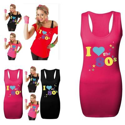 Ladies Women I Love 80s Fancy Dress Constume Neon Festive Outfit Top Vest Shirt