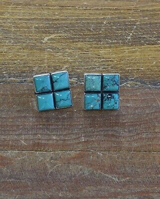 Vintage Southwestern Sterling Silver and Turquoise Earrings by Federico Jimenez