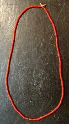 """STRAND OF Original Crow Indian Red """"White Heart"""" Trade Beads Venetian Pre-1800"""