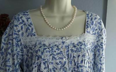 NWT S Small Eileen West Nightgown 100% Cotton Knit NEW Gown Blue Print
