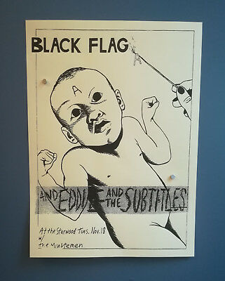 RARE BLACK FLAG Raymond Pettibon 1980 Flyer-Print-Tour-Poster-Punk-Hardcore-Lp