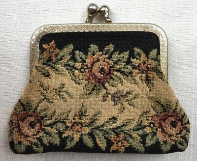 Vintage Floral Tapestry Woven Coin Purse with Kiss Closure