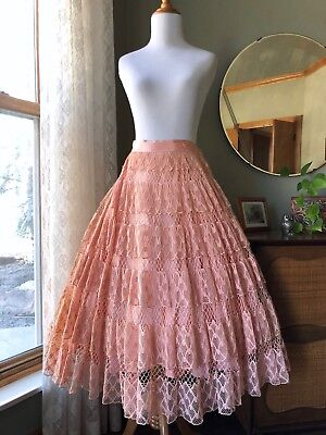50s Circle Skirt Blush Pink Peach Handmade Webbed Lace Fit Flare 1950s Vintage