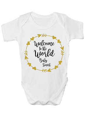 Welcome To The World Funny Personalised Baby Grow Body Suit Vest Add Name