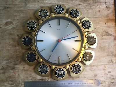 METAMEC battery wall clock Signs of the zodiac Made In England Vintage