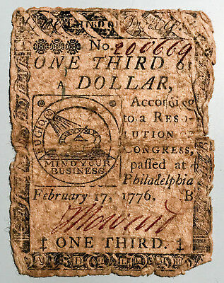 U.S. Colonial Continental Currency 1/3 of $1 Philadelphia 1776 One Third Dollar