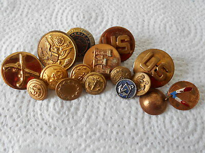 Antique/vintage Lot Of 15 Military Pins And  Buttons  #990