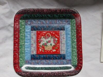"Mary Ann Lasher Cherished Traditions Quilt Plates ""The Log Cabin"" COA"