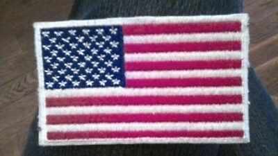 AMERICAN FLAG EMBROIDERED PATCH iron-on with White BORDER USA US United States