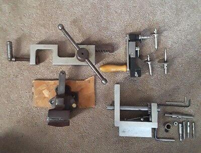 Vintage lot of CLAMPS, table VISE, Mainspring winder watch maker clock repair