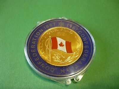 1867-1967 Canada Own Flag Enemelled in colour, Gold Plate.