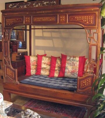Antique Chinese Kang Elm Wood Opium Bed Highly Carved Inlaid Calligraphy