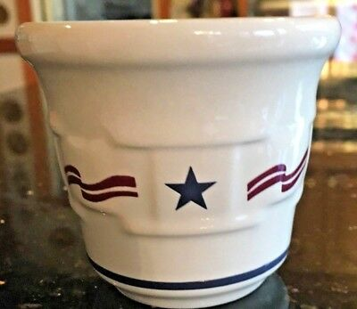 LONGABERGER Pottery Red Blue Cream STARS AND STRIPES Candle or Toothpick Holder