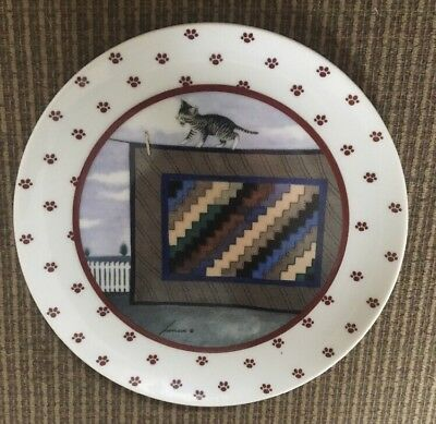 Cat and Quilt Collector Plate vintage Vandor 1988 Lowell Herrero made in Japan