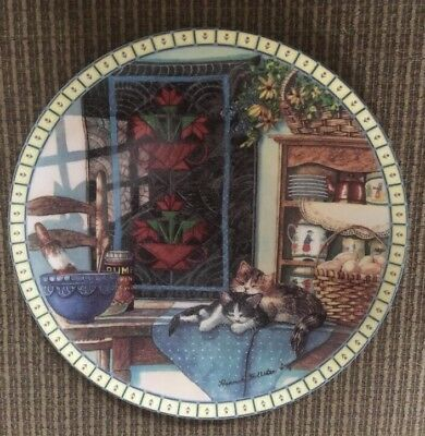 Cats & Quilt Lazy Morning Hannah H Ingmire Plate Knowles 1990 Cozy Country