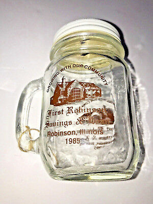 Vintage 1985 Glass Jar Piggy Bank Robinson, Illinois Savings & Loan