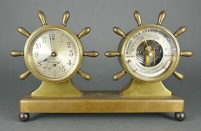 Fine Vintage Cast Brass Chelsea Ships Wheel Barometer Thermometer Tabel Clock