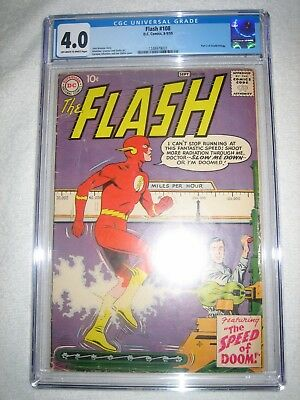 Flash # 108 Cgc 4.0 Ow/wh - Part 3 Of Grodd Trilogy!!! Silver Age Key!! Cw Tv!!!