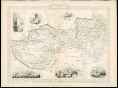 "1850 ""THIBET MONGOLIA MANDCHOURIA"" Antique Map by TIBET CHINA ASIA KOREA Tallis"