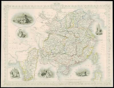 "1850 Illustrated Antique Map of ""CHINA AND BURMA"" Asia  by Tallis (71d)"