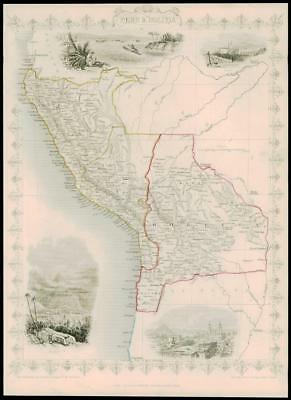 "1850 Illustrated Original Antique Map ""PERU & BOLIVIA"" by Tallis (168d)"