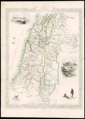 "1850 Illustrated Original Antique Map ""MODERN PALESTINE"" by TALLIS  (160d)"