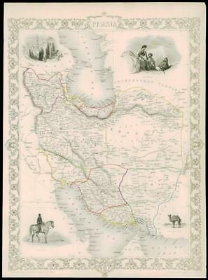 "1850 Illustrated Original Antique Map ""PERSIA"" IRAN by TALLIS  (165d)"