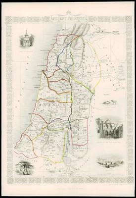 "1850 Illustrated Original Antique Map ""ANCIENT PALESTINE"" by TALLIS  (161d)"