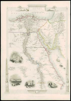 "1850 Illustrated Antique Map of ""EGYPT AND ARABIA PETRAEA""  by Tallis (90d)"