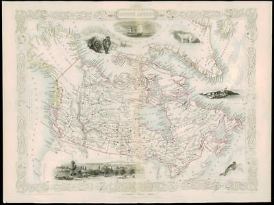 "1850 ""BRITISH AMERICA"" CANADA GREENLAND Antique Map Tallis with Vignettes (11d)"